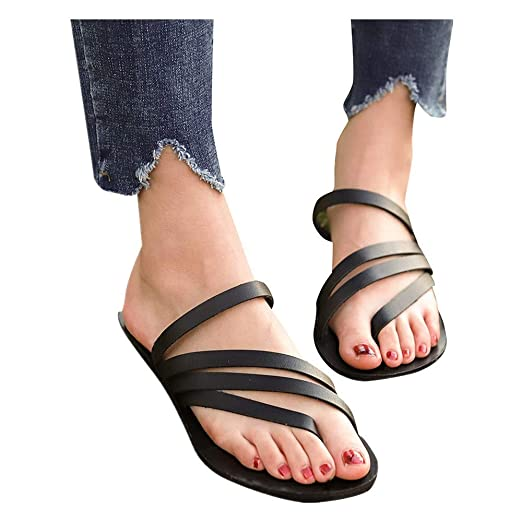 e3d6451f46df Women Summer Flip Flops Open Toe Breathable Beach Sandals Rome Casual  Slip-On Flat Shoes