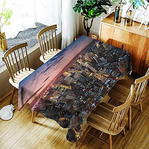 PriceTextile NYC,Table Cloth for Outdoor Picnic Metropolitan Downtown Roofs 54