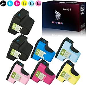 Wolfgray Compatible for HP 02 HP02 XL Ink Cartridge Compatible for HP PhotoSmart D7260 D7460 D7245 D7255 D7263 D7268 D6160 D7155 Printers (2Black/1Cyan/1Magenta/1Yellow/1Light Cyan/1Light Magenta)