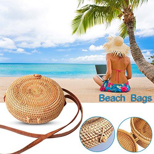 sac de Vintage de Beach à rangement domicile rotin paille petit circulaire sac tissé femmes Bohême Retro Summer sac Sac les rond bandoulière en à pour Arc 86dqX8x1