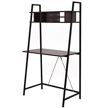 Amazoncom Tangkula Ladder shelf with desk Leaning Bookcases Home