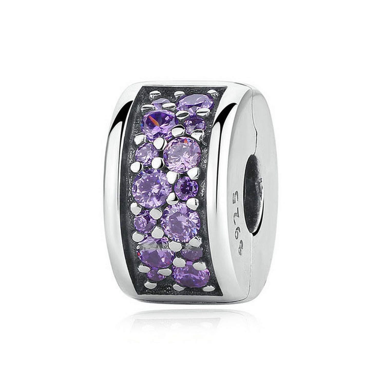 MMC Silver Shining Elegance Clip Beauty Charm Purple CZ Beads Bracelets