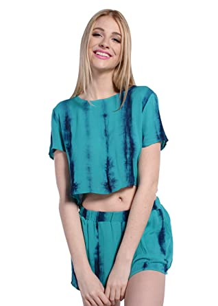 6825ae53dc9 Wink Gal Women s Summer Boho Playsuit Two Piece Outfits Crop Top and Shorts  Set Green XS