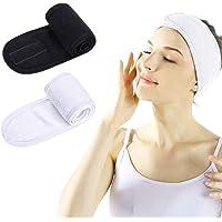 2 Pcs Makeup Headband for Washing Face, Spa Headbands for Women, Adjustable Shower Bath Towel with Magic Tape (Black…