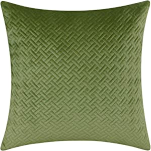 "Artcest Decorative Velvet Bed Throw Pillow Case, Sofa Soft Quilted Pattern, Comfortable Couch Cushion Cover, 20""x20"" (Moss Green)"