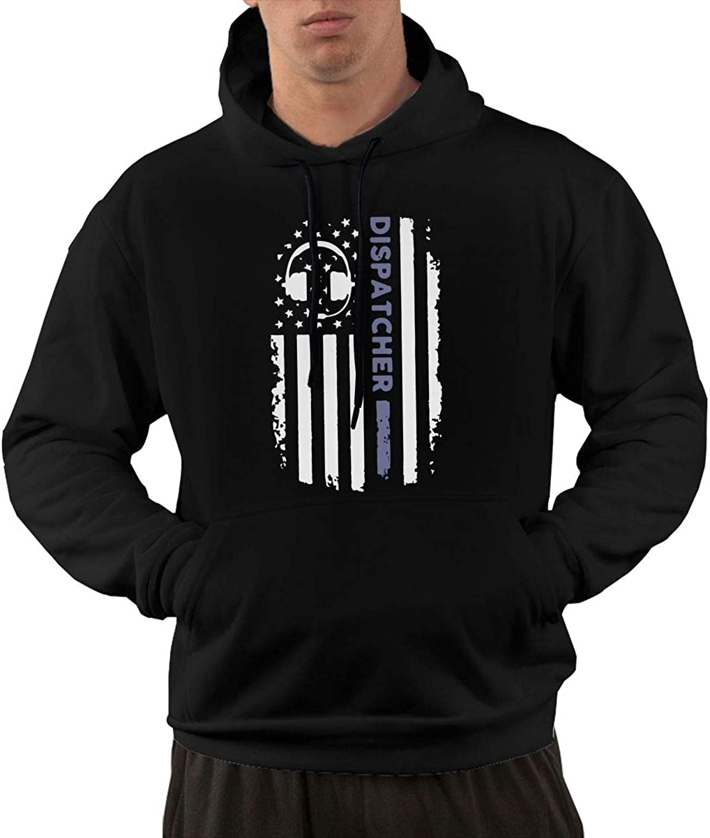 Athletic Cotton Hoodie with Pocket for Men Ou30IL@WY Mens 911 Dispatcher Thin Gold Line Hooded Fleece