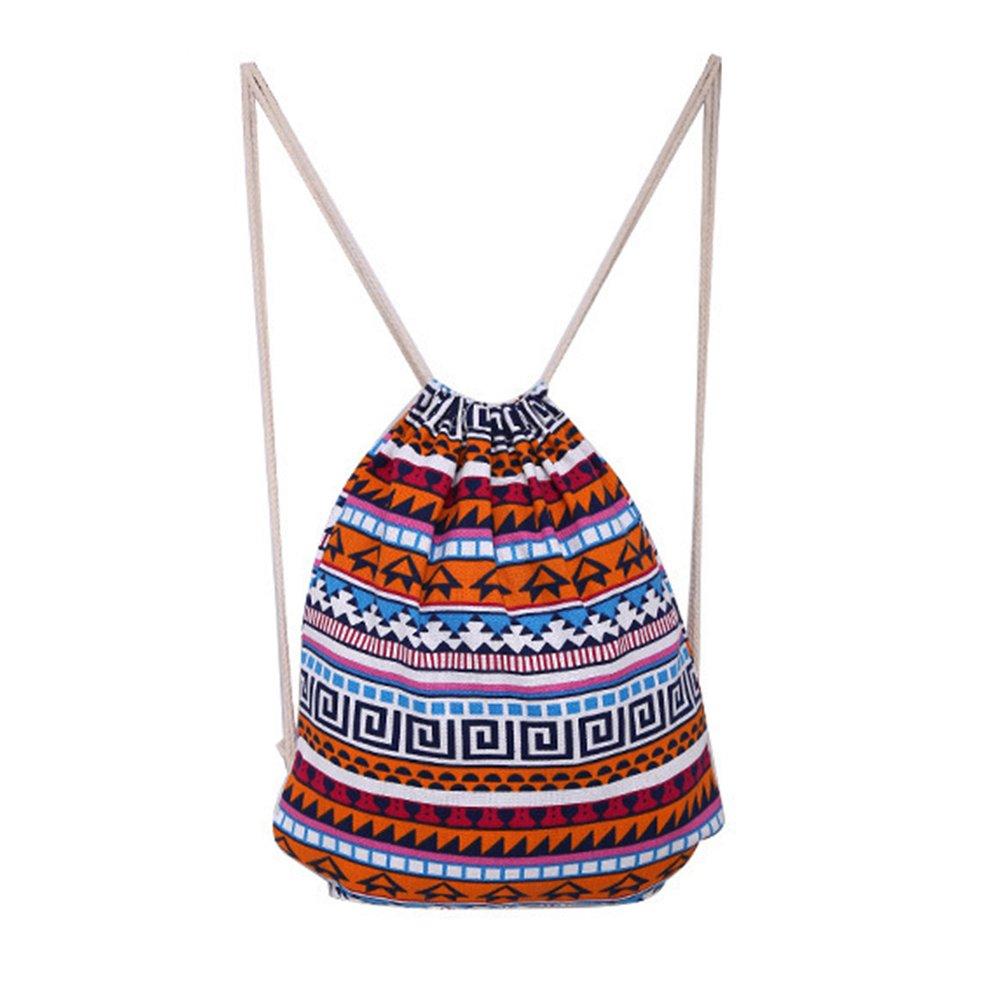 Vbiger Mochila de Lienzo con cordón Mochilas étnicas de Compras Mochila de Hombros de Moda Mochila de Viaje Casual para Mujer: Amazon.es: Equipaje