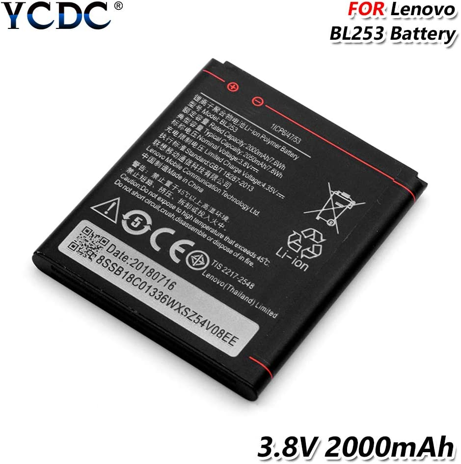 YCDC BL253 Battery 3.8V 2000mAh for Lenovo A2010 A1000 A2580 A2860 A3600D A3800D,2000mAh BL 253 BL253 Battery for Lenovo A1000 A2010 A2860 A2580 A3800D A3600D