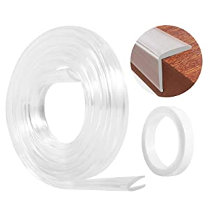Edge Corner Protectors, Corner Guards Baby Proofting, E-PRONSE Updated Wider Clear Furniture Table Corner Protector Bumper Strip with Updated Thicker Adhesive Stickers 6.5ft