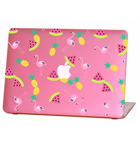 Rubberized Hard Case for 13 inch Macbook Air model number A1369 and A1466, watermelon flamingo pineapple design with the pink bottom case, Come with ...