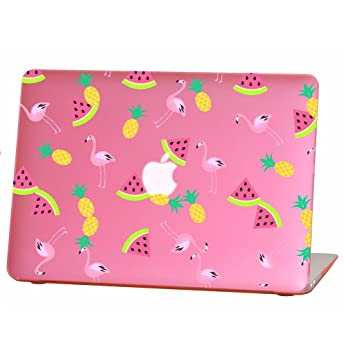 Rubberized Hard Case for 11 inch Macbook Air model number A1370 and A1465, watermelon flamingo pineapple design with the pink bottom case, Come with ...