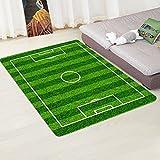 """ZHH Soccer Field Ground Indoor Doormats Super Absorbs Mud Sport Theme Football Field Carpet Mat Non-Slip Floor Rugs Entrance Door Mat Shoes Scraper Home Decor (Green A, 20""""X31"""")"""