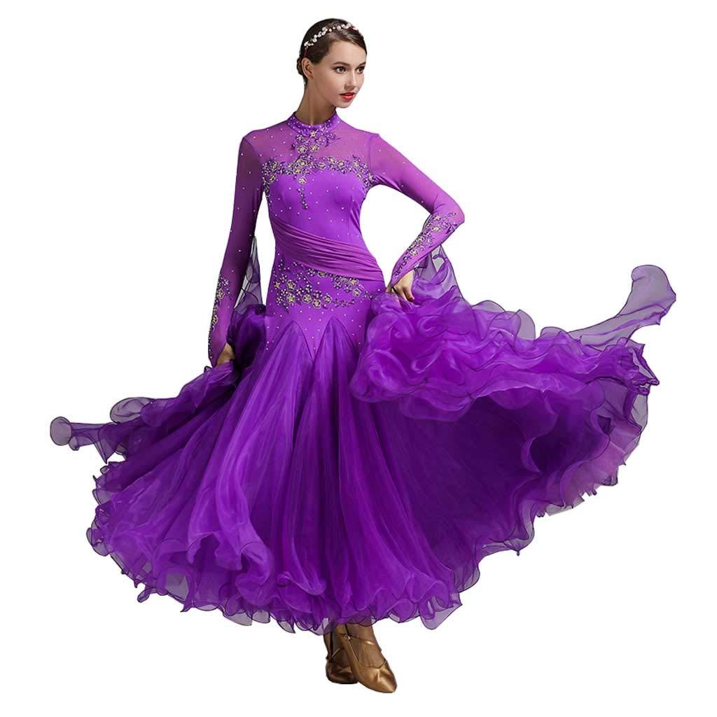 violet XX-grand RJ Robes Costume de Danse Moderne pour Femme Adulte, Costume de Danse Latine Pourpre (Couleur   violet, Taille   L)
