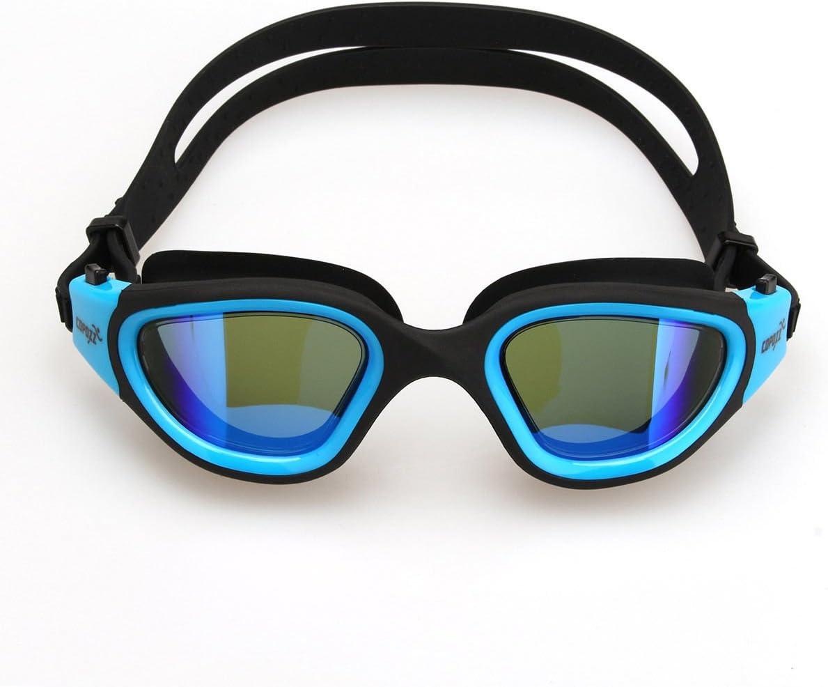 ブルー水泳ゴーグルnon-fog Anit UV Wateproof Swim Goggleミラーメガネ