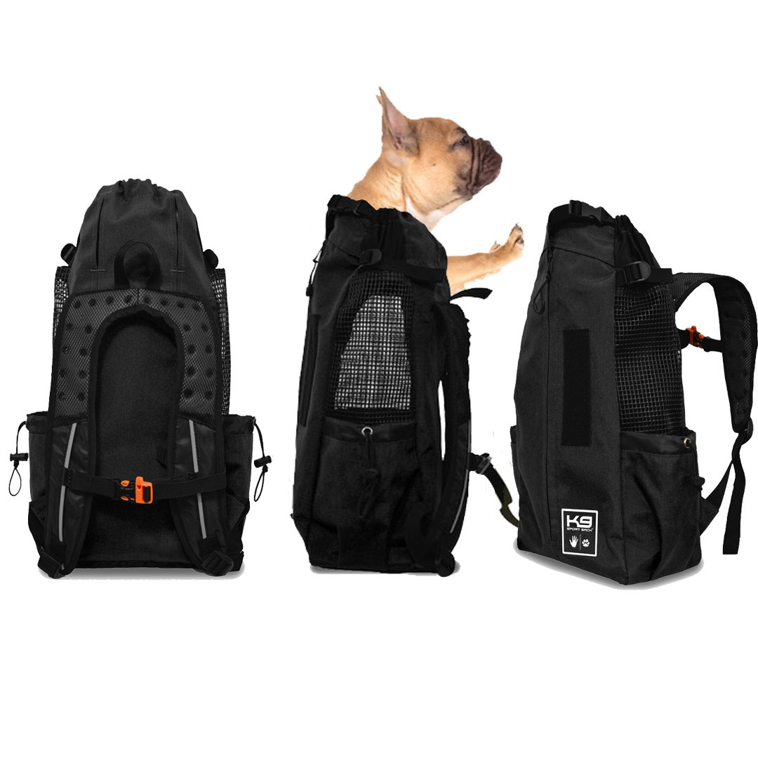 K9 Sport Sack AIR | Pet Carrier Backpack For Small and Medium Dogs | Front Facing Adjustable Pack | Veterinarian Approved Safe Bag For Travel To Carry Canine - Large - Jet Black