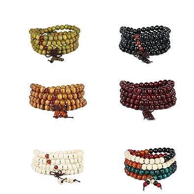 sadsdsds 6pc Mens Womens 8mm Wood Prayer Yoga Beads Bracelet Elastic Mala Bracelet Sandalwood Link Wrist Necklace