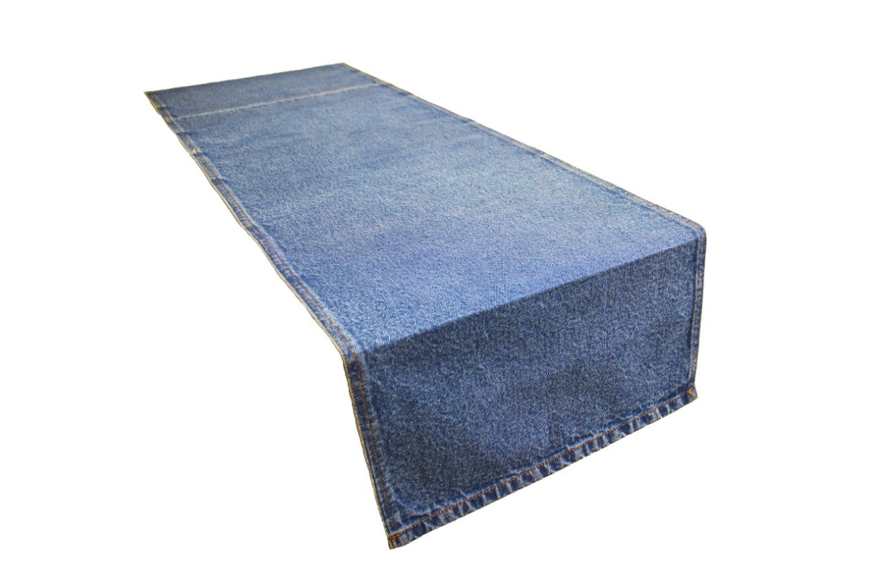 AAYU Blue Denim Table Runner | Stone Washed Premium Quality (13 inch X 108 inch - Light Wash)