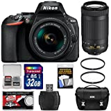 Nikon D5600 Digital SLR Camera with 18-55mm VR & 70-300mm DX AF-P Lenses with 32GB Card + Case Kit (Certified Refurbished)