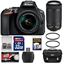 Nikon D5600 Digital SLR Camera with 18-55mm VR & 70-300mm DX AF-P Lenses with 32GB Card + Case Kit (Certified Refurbished)