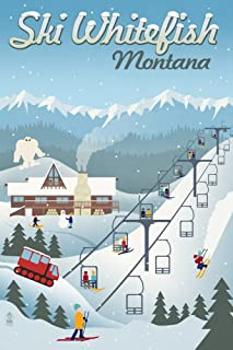 product image for Whitefish, Montana - Retro Ski Resort (12x18 Art Print, Wall Decor Travel Poster)