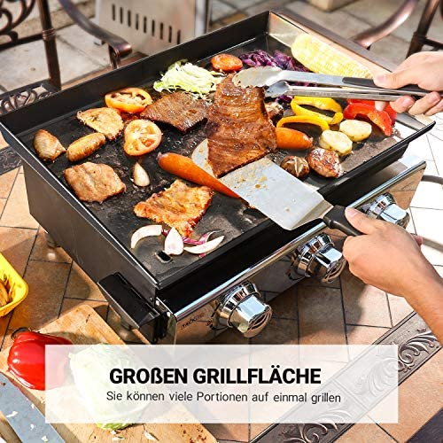 TACKLIFE Plancha gaz, 3 Brûleurs,Puissance 7200w,2260cm² Zone de Cuisson, Plaque de cuisson en acier émaillé, idéal pour cuisiner en plein air, faire la fête et Camping