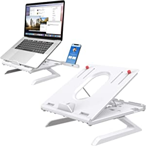 Laptop Stand Built-in Foldable Legs & Phone Holder, Klearlook Multi-Angle Adjustable Laptop Riser with Air-Ventilation Ergonomic Portable Laptop Holder Compatible with MacBook PC Tablet (White)