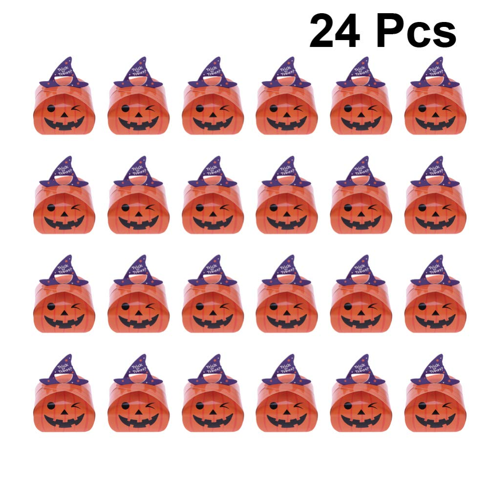 PRETYZOOM 24pcs Halloween Favor Boxes Paper Pumpkin Gift Bags Halloween Trick or Treat Boxes for Halloween Kids Birthday Decorations