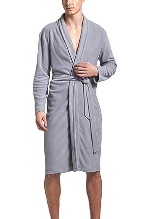 dc38037447 Vosujotis Men Fleece Kimono Bathrobe Cotton Lightweight Nightgowns Robe   Amazon.co.uk  Clothing