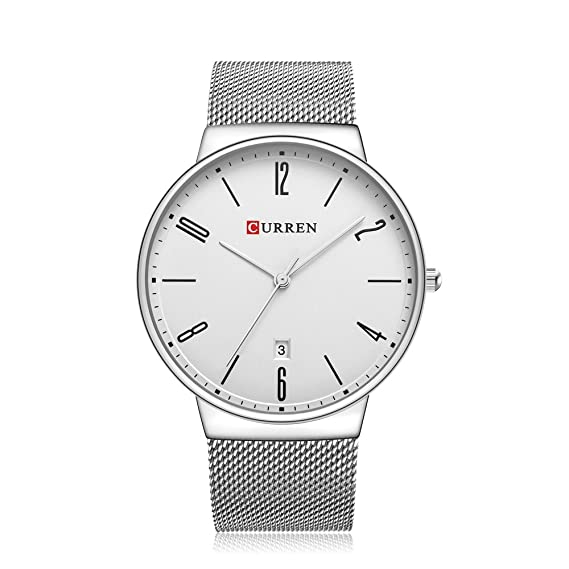 CURREN 8257 (Silver White) Mens Unisex-adult Waterproof Stainless Steel Date Good Quality