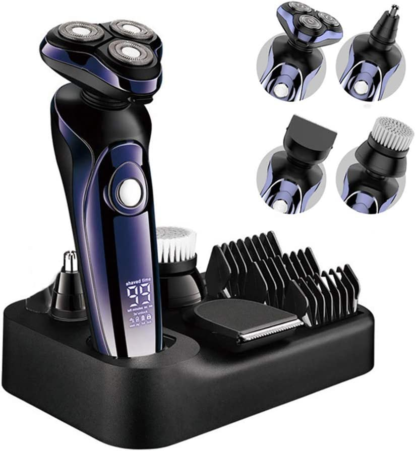 Máquina de afeitar eléctrica para hombres, máquina de afeitar giratoria portátil, recargable y en 3D a prueba de agua para hombre, 4 en 1 de afeitar giratoria para hombres con, con peine