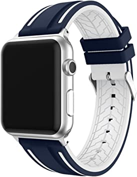 Correa para Apple Watch 42mm Series 5/4/3/2/1 Correa de Reemplazo Silicona Suave para Reloj iWatch, Ajustable Banda Transpirable con Estilo Deportivo, Sport Band para Apple Watch, Azul y Blanco: Amazon.es: Electrónica