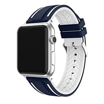 LeeHur Correa Apple Watch 42mm Series 1 / 2 / 3 Ajustable y Transpirable, Correa de Reemplazo Silicona Suave con Hebilla Flexible para Reloj iWatch, ...