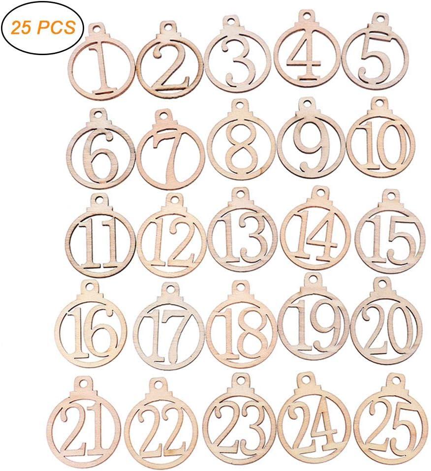 Adventskalender H/ölzerne Nummernschilder 1-25 Weihnachts Countdown Adventskalender Zahlen zum Basteln Geschenkanh/änger Weihnachtsbaum Anh/änger