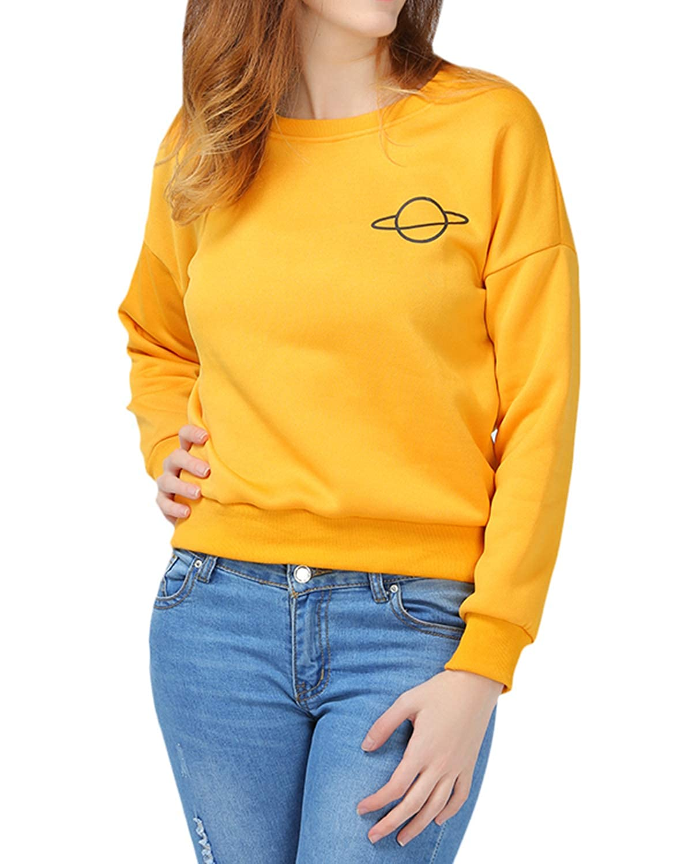72b2c1418c Sweatshirts & Hoodies ZAFUL Womens Casual Sweatshirt Long Sleeve Planet  Graphic Print Loose Pullover Shirt 224278002