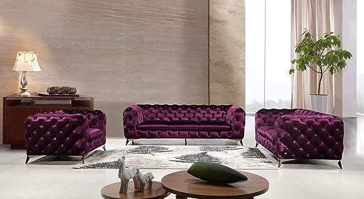 Amazon.com: J&M Glitz Living Room Velour Sofa Set (Purple ...