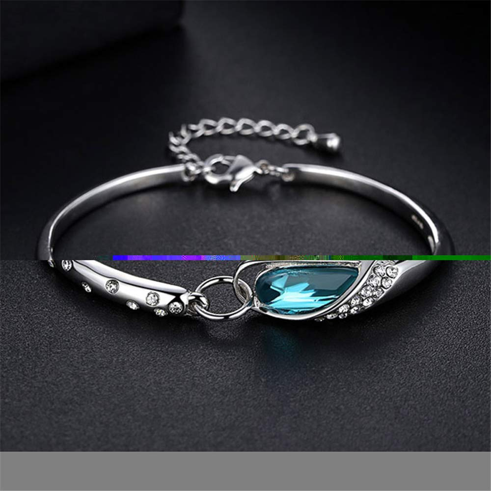 GLEEBRACEL Blue Stone Cubic Zirconia Silver Plated for Women Jewelry Adjustable Bangle Bracelet