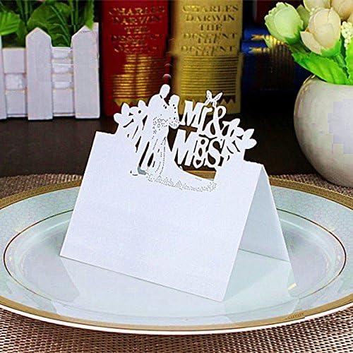 G/én/érique 50pcs Marque Place Carte de Table de Mariage Motif Mr /& Mrs Blanc