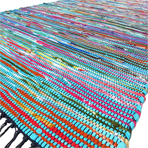 (Eyes of India - 3 X 5 ft Blue Colorful Chindi Woven Rag Rug Bohemian Boho Decorative Indian)
