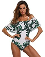 MLCHNCO Women Onepiece Swimsuit Off Shoulder Ruffled Flounce Bikini Monokini Bathing Suit S-XXL