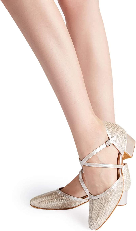 HXYOO Closed Toe Low Heel Glitter Ballroom Dance Shoes for Women ...