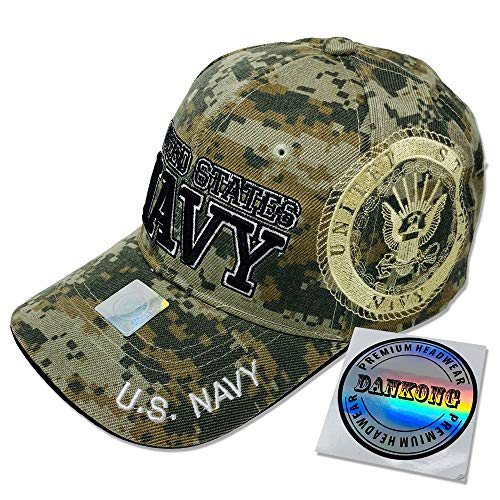 GREAT CAP Cotton Military Hat - U.S. Navy Official Licensed Hat 3D Embroidered with Size Adjustable Hoop and Loop Closure for Men and Women - United States Navy - Side Logo - Camouflage ()