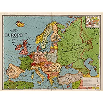 1920s Europe Map.Amazon Com 1920s Map Europe Bacons Standard Of Europe By G W
