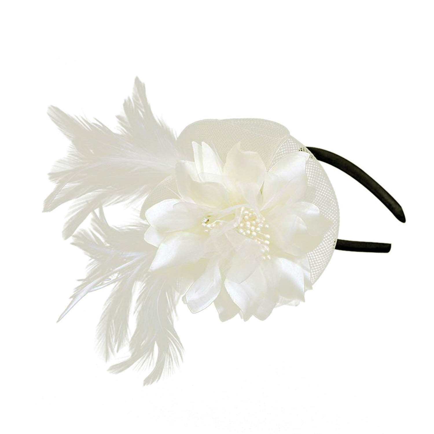 Netting Feathers Big Flower Headband Party Girls Women Fascinator Headwear Cocktail Hat Head Decoration