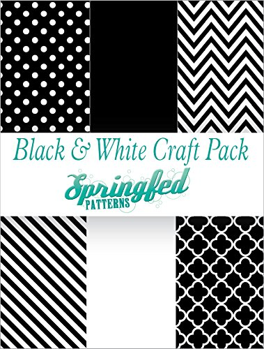 BLACK & WHITE PATTERN CRAFT PACK! 6 Pieces 12x12 Chevron Polka Dots Pattern Craft Vinyl Oracal 651