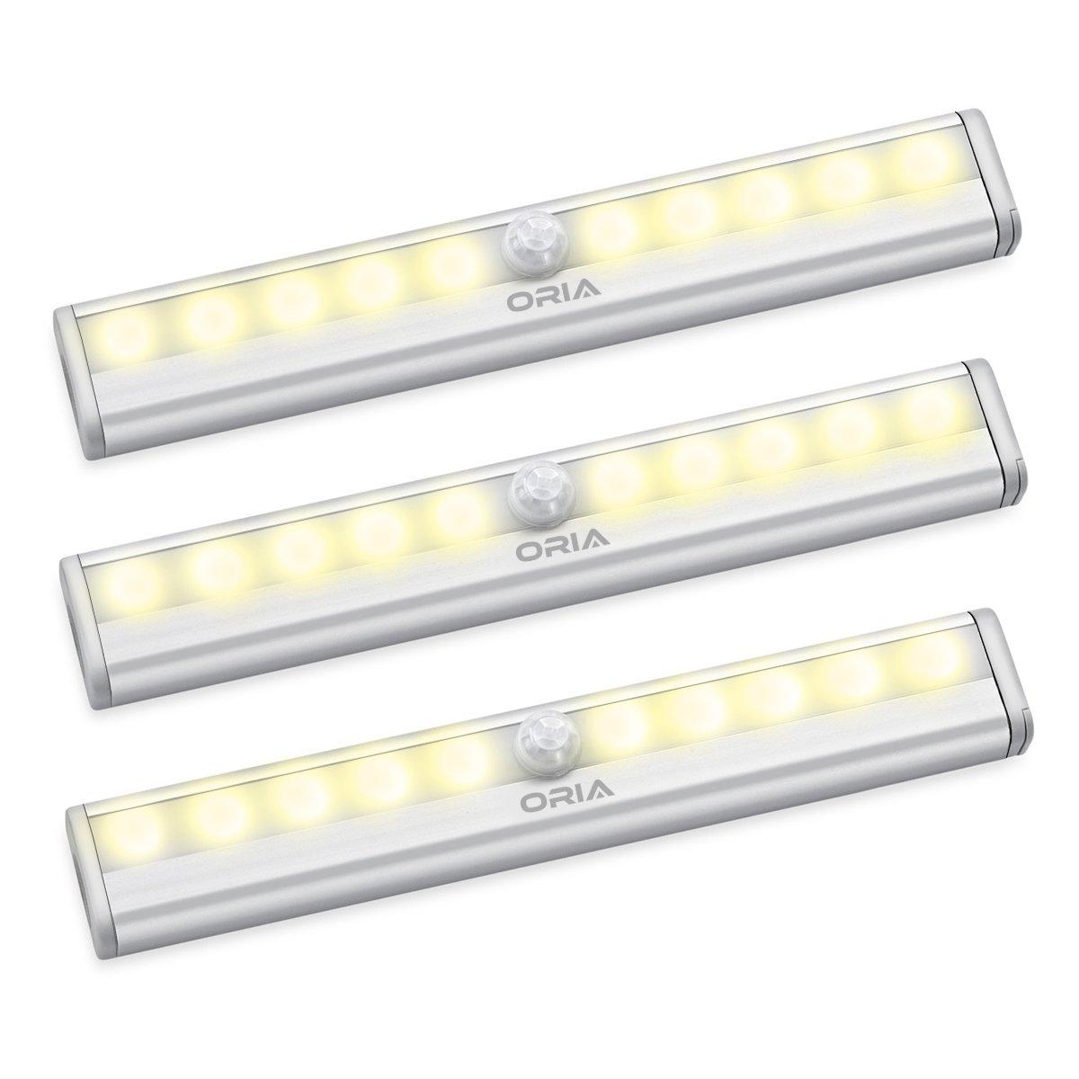 ORIA Schrankbeleuchtung Licht, 3er Pack Nachtlicht mit Bewegungsmelder Sensor Schrank Licht, Bewegungsmelder Nachtlicht Schranklampe mit 10 LED und Magnetstreifen, Auto ON/OFF Licht Schrank Licht für Küche,Korridor,Garderobe, etc - Gelb