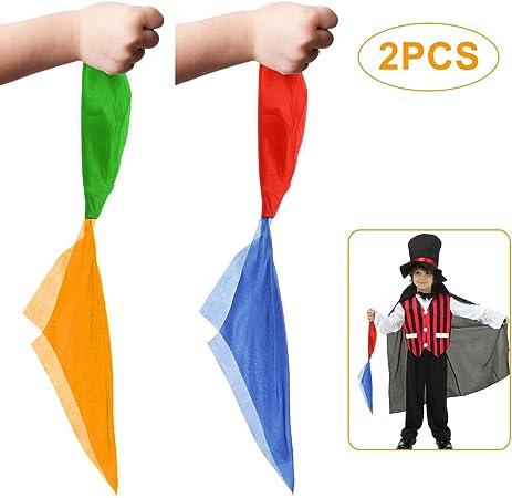 Foulard Magique,2 Pack Couleur Changeante Magiques Echarpe Foulard en Soie Magic Echarpes de Changement de Couleur Magiques Accessoires pour les Enfants Party