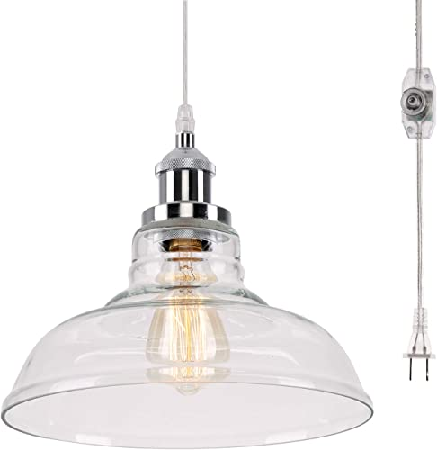 Kingmi Glass Hanging Lights with Plug in Cord and On Off Dimmer Switch, Updated Industrial Edison Vintage Style Pendant Lamps for Kitchen or Dining Room