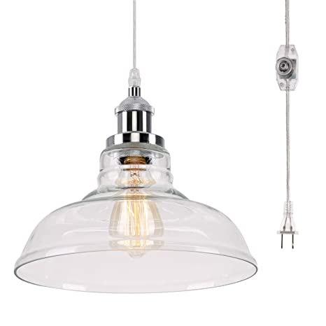 Kingmi Glass Hanging Lights With Plug In Cord And Onoff Dimmer