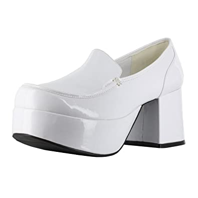1bb00c39dfc Summitfashions Men s Slip On Platform Loafer Pimp Shoes with 3 Inch Chunky  Heels White Size