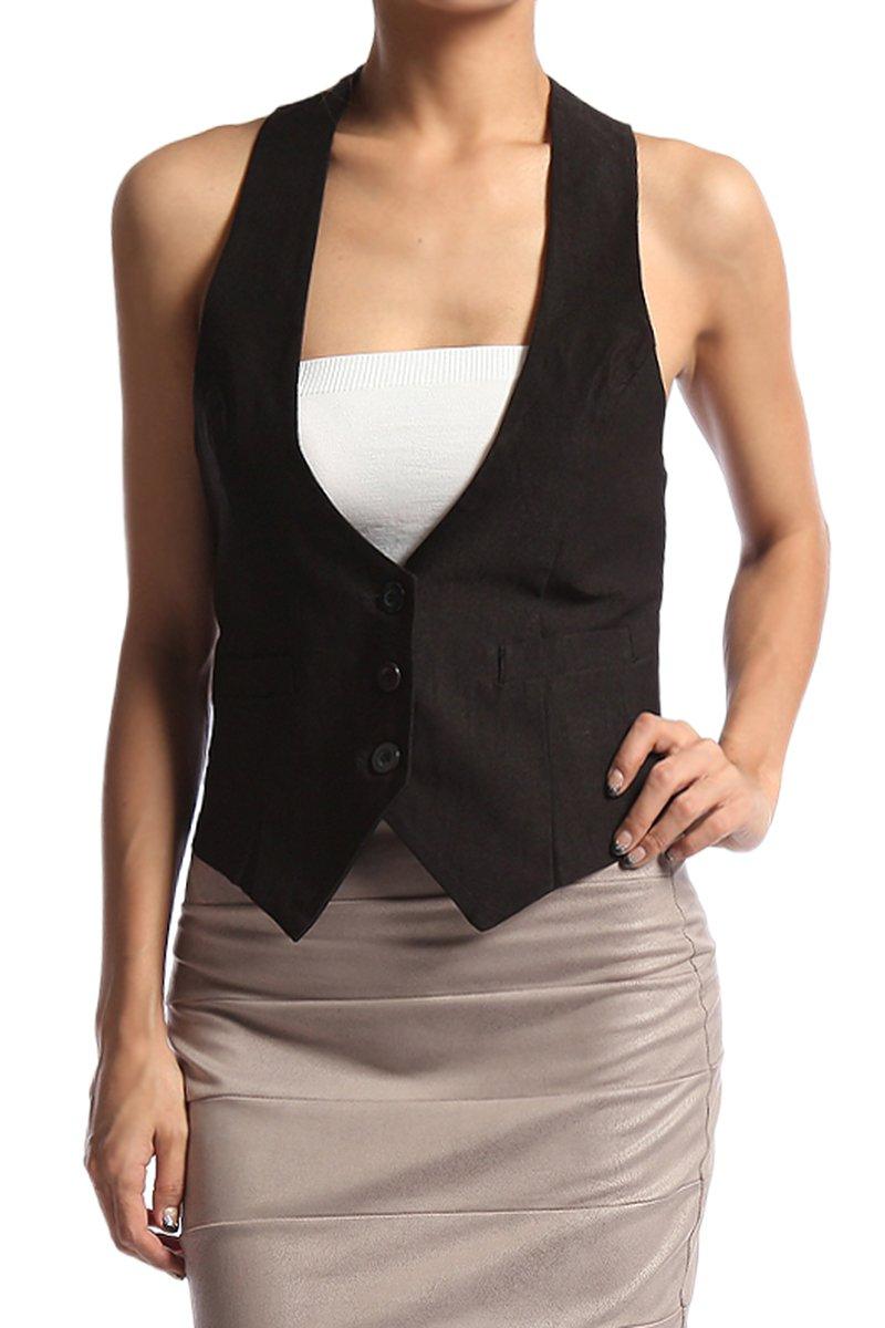 TheMogan Women's V-Neck Satin Back Button Up Tuxedo Vest Black 1XL